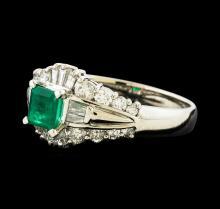 0.43 ctw Emerald and Diamond Ring - Platinum
