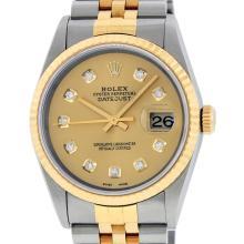 Rolex Mens 18K Two Tone Champagne Diamond Datejust Quickset Wristwatch 16233