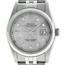 Rolex Mens 36mm Stainless Steel Silver Diamond Datejust Wristwatch