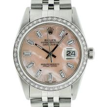 Mens Rolex Stainless Steel Pink MOP Baguette Diamond Datejust Wristwatch