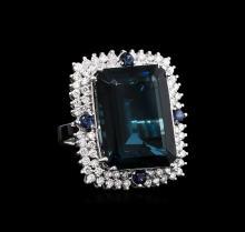 30.20 ctw Blue Topaz and Diamond Ring - 14KT White Gold