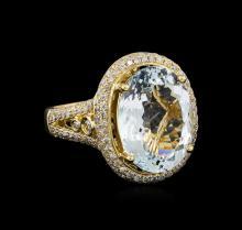 6.31 ctw Aquamarine and Diamond Ring - 14KT Yellow Gold
