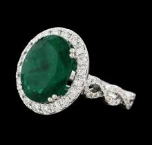 5.68 ctw Emerald and Diamond Ring - 14KT White Gold