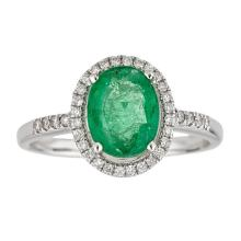 1.83 ctw Emerald and Diamond Ring - 14KT White Gold
