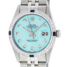 Rolex Mens SS Blue Diamond And Sapphire Datejust Wriswatch