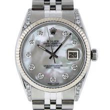 Rolex Stainless Steel Diamond Quickset DateJust Men's Watch