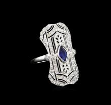 0.50 ctw Blue Sapphire and Diamond Ring - 18KT White Gold
