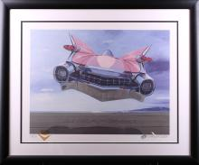 Harold James Cleworth Retrofuturism Pink Cadillac Limited Edition Lithograph