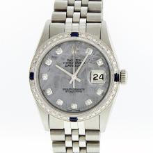 Rolex Stainless Steel Meteorite Diamond Sapphire DateJust Men's Watch