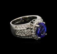 3.20 ctw Tanzanite and Diamond Ring - 14KT White Gold
