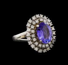 14KT White Gold 4.34 ctw Tanzanite and Diamond Ring