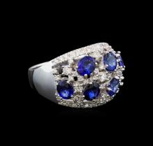 14KT White Gold 3.12 ctw Sapphire and Diamond Ring