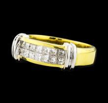 0.65 ctw Diamond Ring - 18KT Yellow With Rhodium Plating Gold