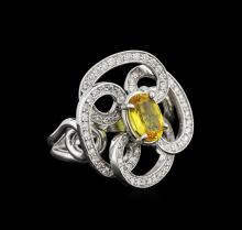 1.15 ctw Yellow Sapphire and Diamond Ring - 14KT White Gold