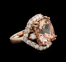 11.05 ctw Morganite and Diamond Ring - 14KT Rose Gold