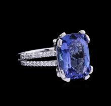 8.30 ctw Tanzanite and Diamond Ring - 14KT White Gold