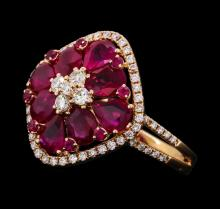 2.74 ctw Ruby and Diamond Ring - 18KT Rose Gold