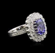 3.77 ctw Tanzanite and Diamond Ring - 14KT White Gold
