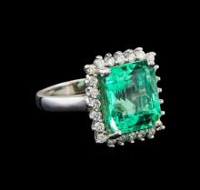 GIA Cert 7.13 ctw Emerald and Diamond Ring - 14KT White Gold
