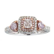 0.34 ctw Lady's Pink and White Diamond Ring - 18KT Rose and White Gold