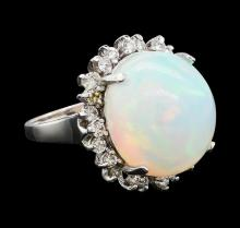 13.48 ctw Opal and Diamond Ring - 14KT White Gold