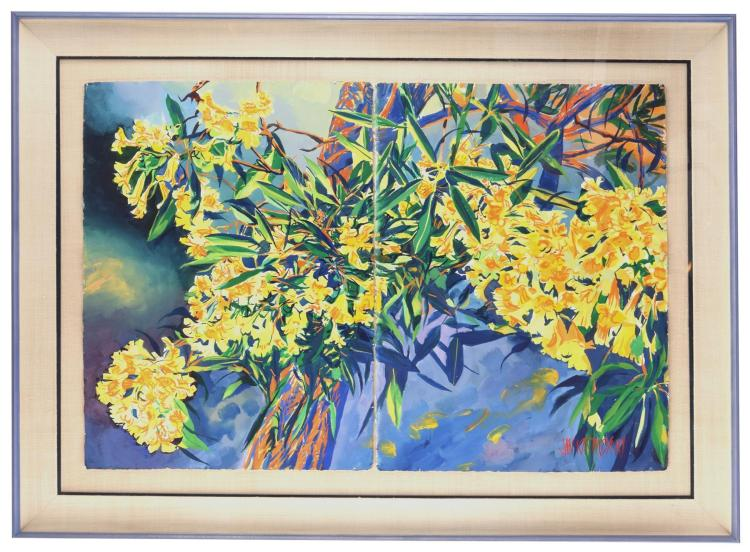 TREE OF GOLD DIPTYCH BY JAN KASPRZYCKI (HAWAII, 20TH CENTURY).