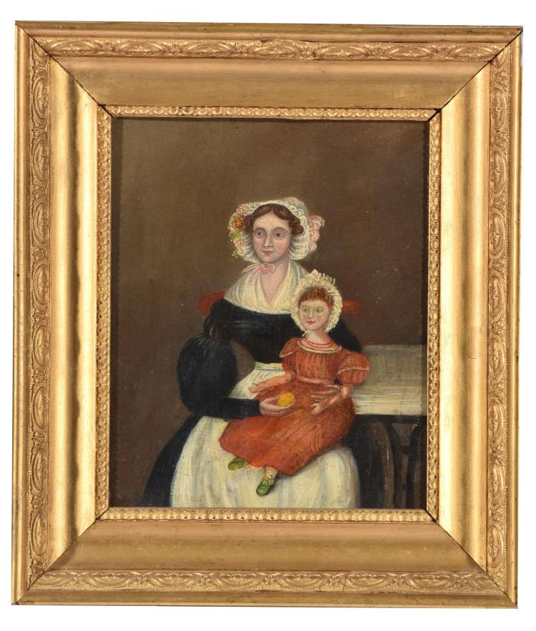 PRIMITIVE MOTHER AND CHILD PORTRAIT (AMERICAN, EARLY 19TH CENTURY).