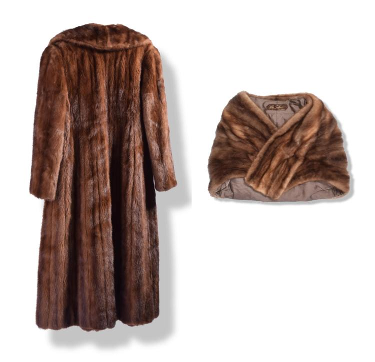 MINK COAT AND STOLE.