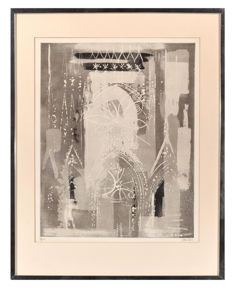 ROSE WINDOW BY JOHN PIPER (ENGLISH, 1903-1992).