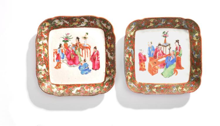 PAIR OF CHINESE FAMILLE ROSE SQUARE BOWLS.