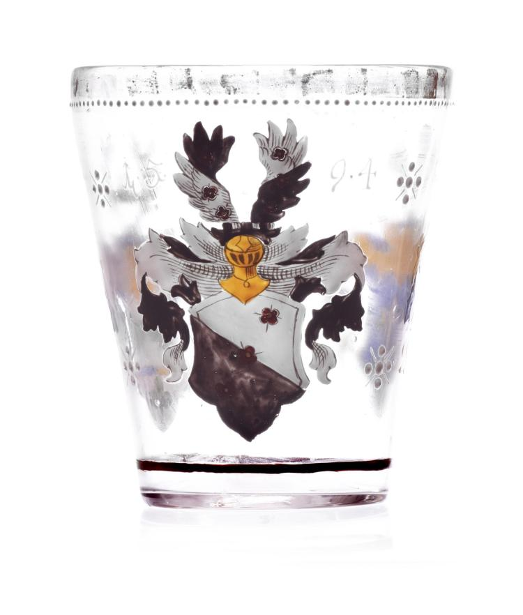 GERMAN ENAMELED GLASS BEAKER.
