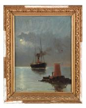 STEAMSHIP AT SEA (CONTINENTAL SCHOOL, LATE 19TH CENTURY).
