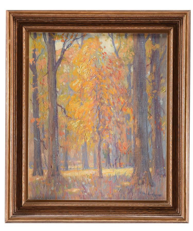 THE ORANGE WOODS BY FRANK NUDERSCHER (AMERICAN, 1880-1959).