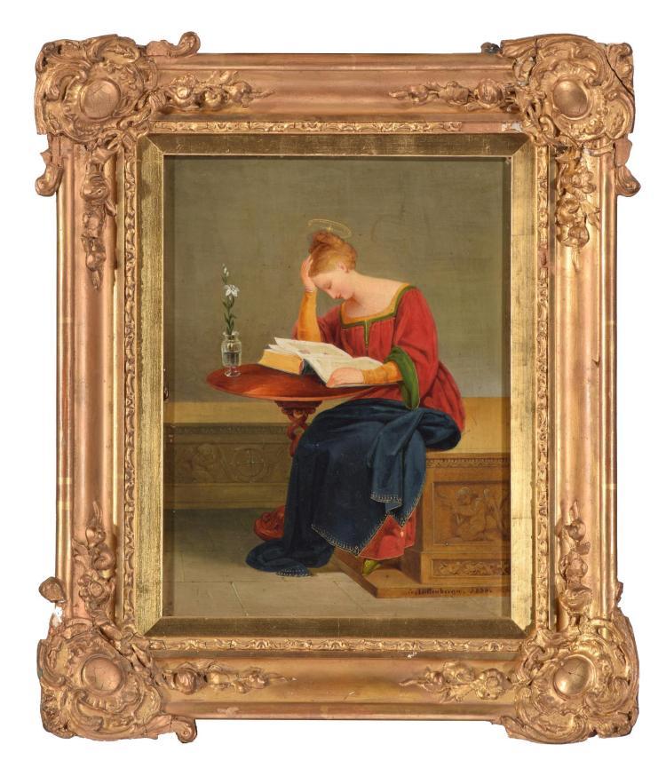 SAINT CATHERINE OF SIENA BY GUSTAV DITTENBERGER (GERMAN,1794 - 1879).