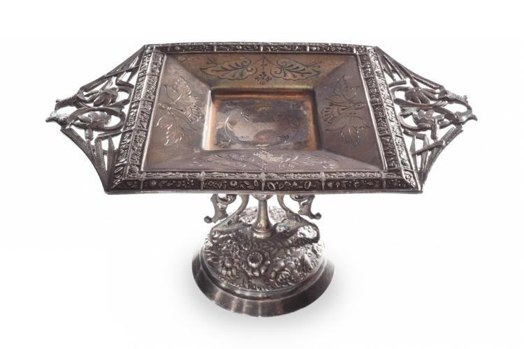 AESTHETIC MOVEMENT SILVER BISCUIT TRAY BY MERIDEN.
