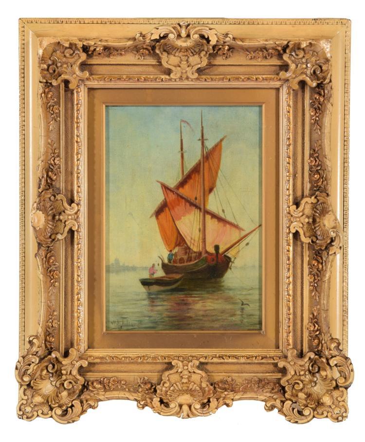 VENETIAN MERCHANT SHIP BY WILLIAM HILLIARD (AMERICAN, 1836-1905).