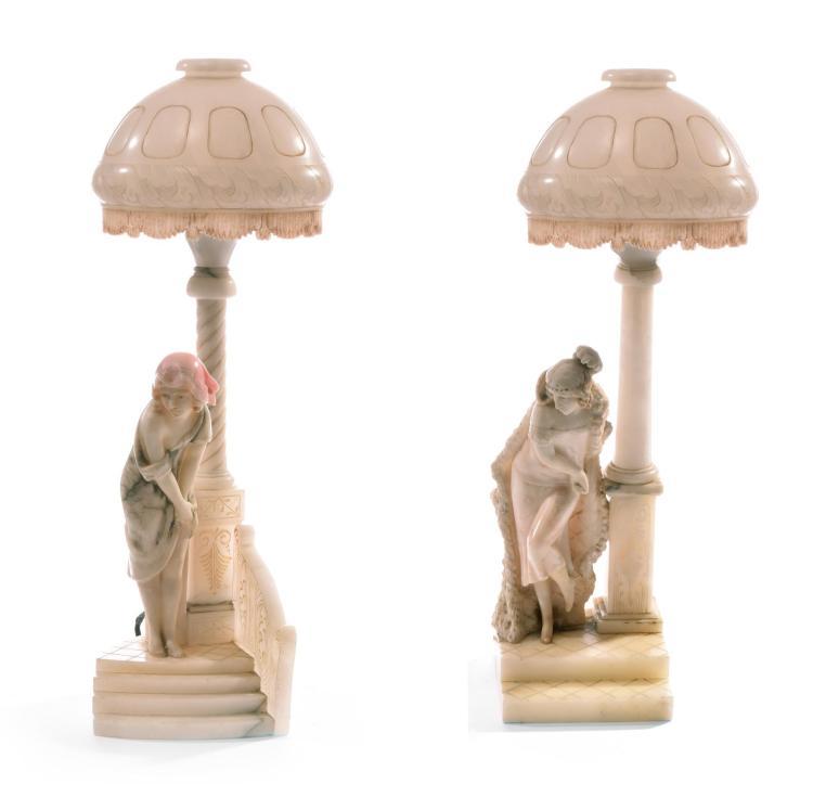 PAIR OF ITALIAN MARBLE LAMPS.