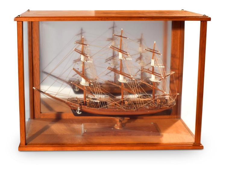CASED MODEL SHIP.