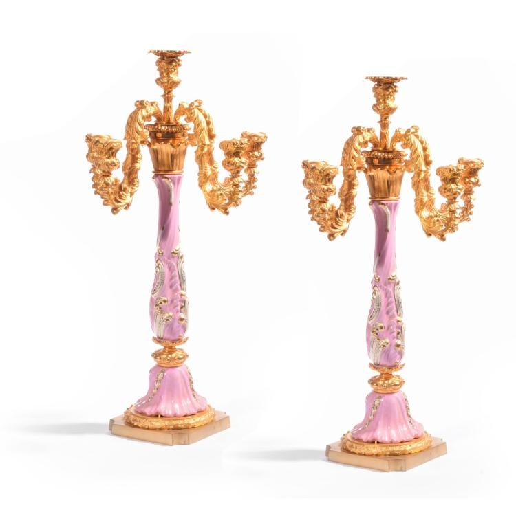 PAIR OF PORCELAINE DE PARIS CANDELABRAS.