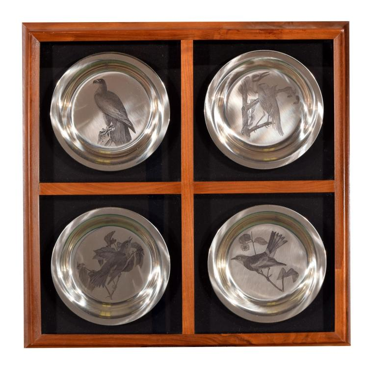 FRAMED FRANKLIN MINT STERLING BIRD PLATES.
