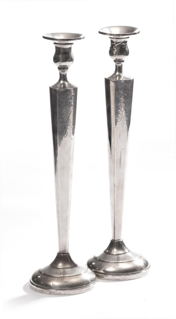 PAIR OF TALL STERLING CANDLESTICKS.