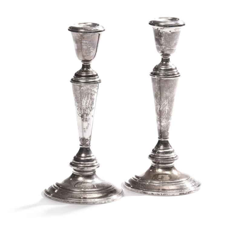 PAIR WOODWARD & LOTHROP STERLING CANDLESTICKS.