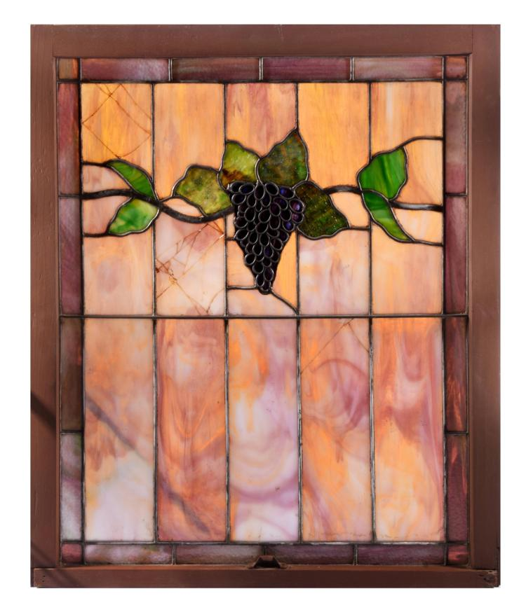 GRAPEVINE STAIN GLASS WINDOW.