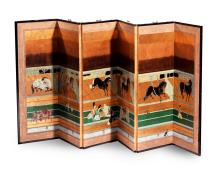 FINE HORSES IN A STABLE SIX PANEL BYOBU.