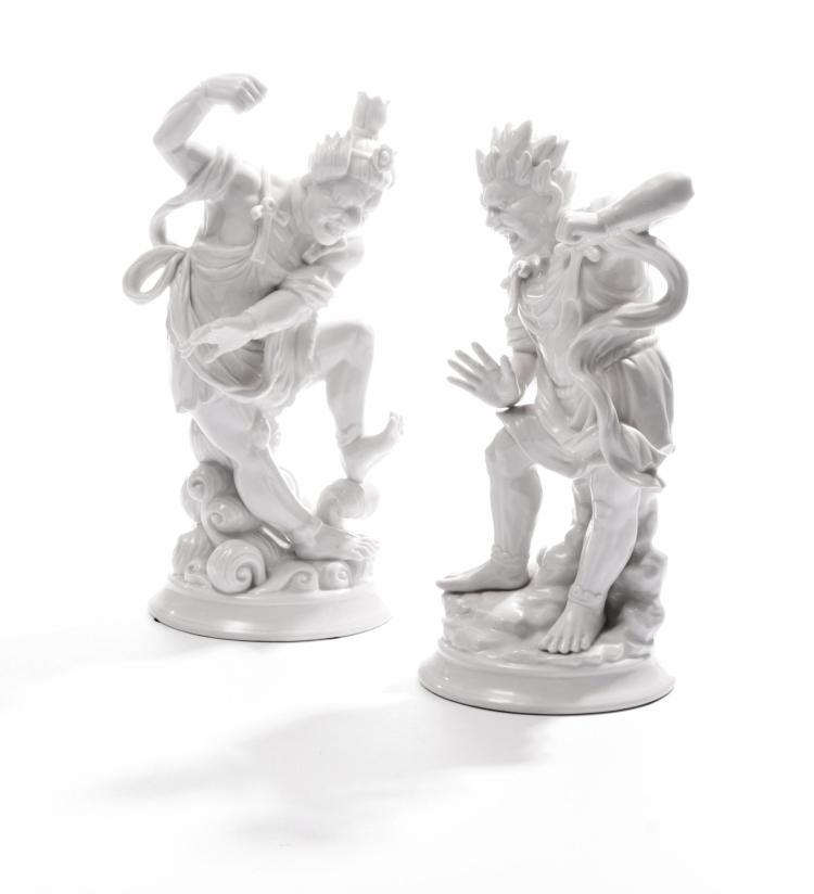 PAIR OF BLANC DE CHINE FIGURES BY FITZ AND FLOYD.