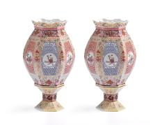PAIR OF FAMILLE JAUNE CHINESE WEDDING LAMPS WITH STANDS.