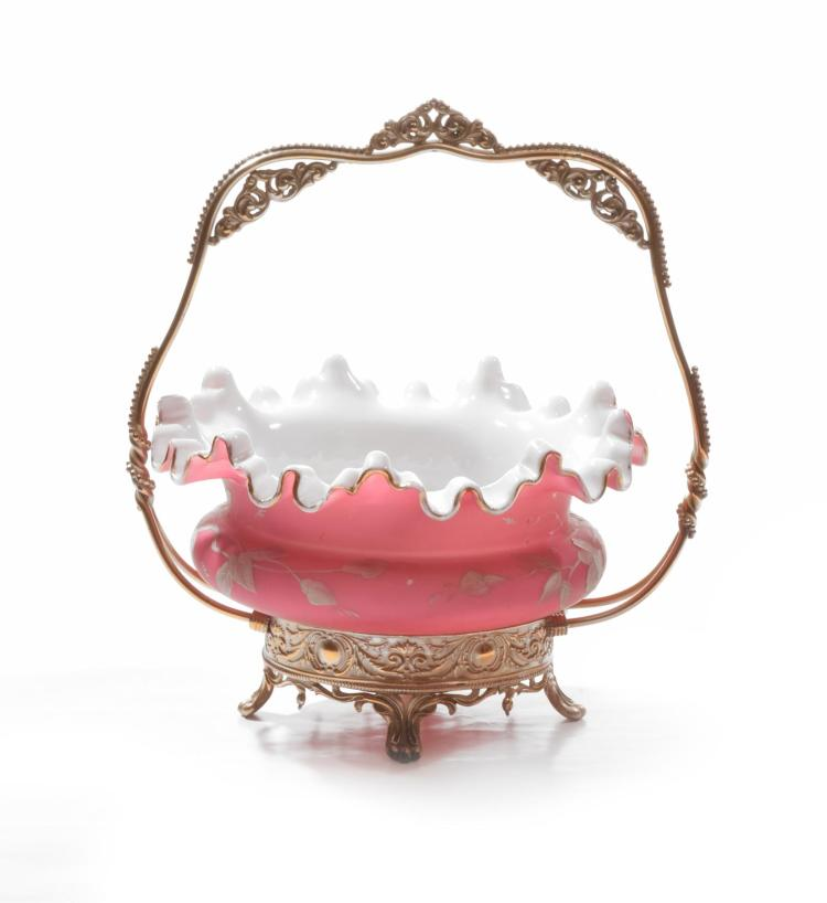 RUFFLED CAMEO GLASS BRIDES BASKET.