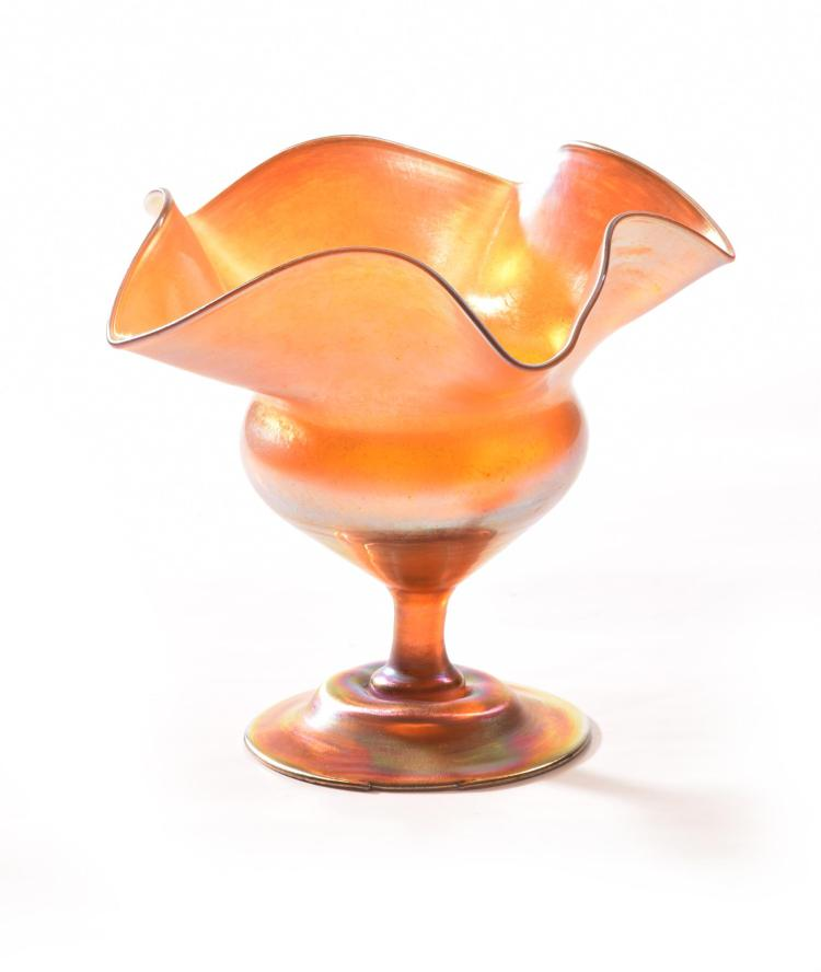 LOUIS COMFORT TIFFANY SCALLOPED COMPOTE.