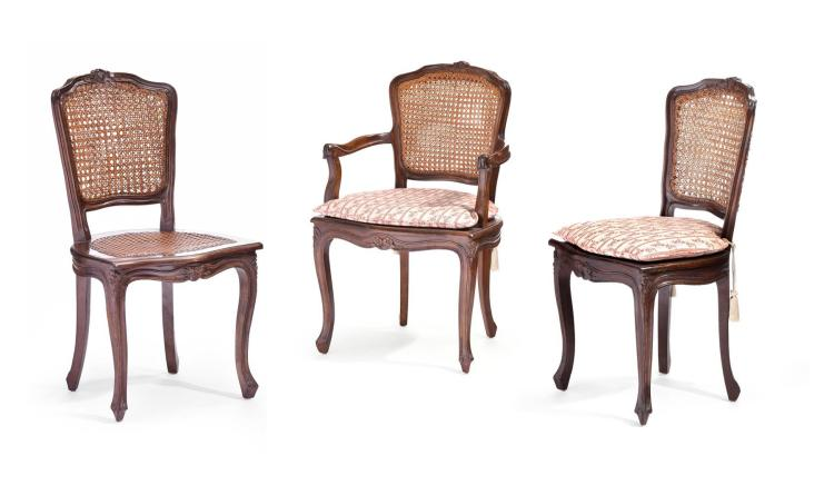 SET OF SIX DOUBLE CANED BACK CHAIRS.