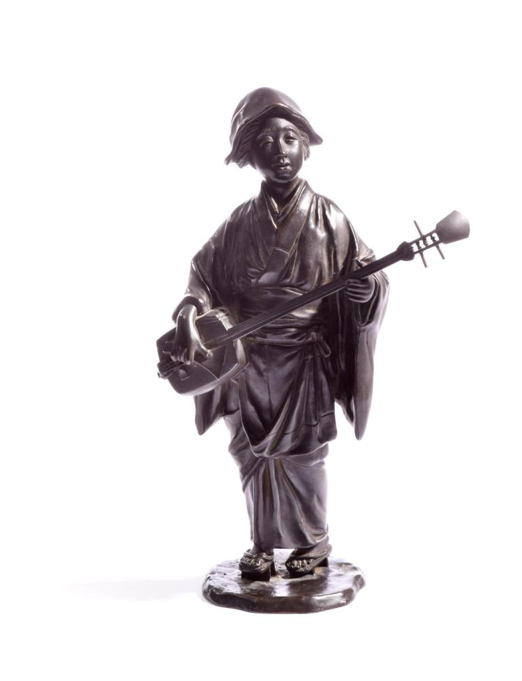 MEIJI BRONZE FIGURE OF A MUSICIAN SIGNED SEIYA SAKU.